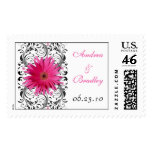 Pink Gerbera Daisy Floral Wedding Postage