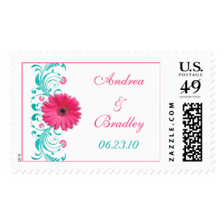 Pink Gerbera Daisy Floral Wedding Postage