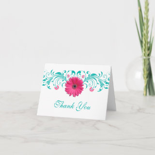 Pink Gerbera Daisy Floral Wedding Thank You Card