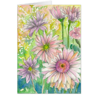 Pink Gerbera Daisy Flower Bouquet Happy Birthday Card