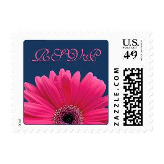 Pink Gerbera Daisy Flower Navy Blue Wedding RSVP Stamp