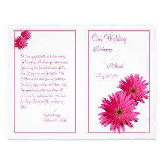Pink Gerbera Daisy Flower Wedding Program