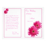 "Pink Gerbera Daisy Flower Wedding Program 8.5"" X 11"" Flyer"