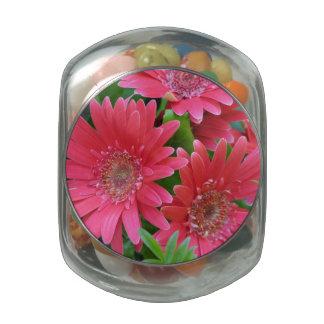 Pink Gerbera Daisy Glass Candy Jars