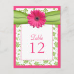Pink Gerbera Daisy Green Damask Table Number Card