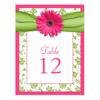 Pink Gerbera Daisy Green Damask Table Number Card Post Cards