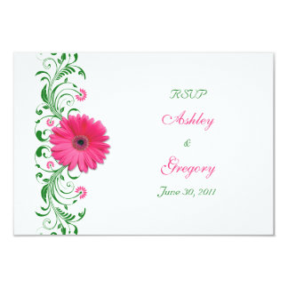 "Pink Gerbera Daisy Green Floral Reply Card 3.5"" X 5"" Invitation Card"