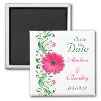 Pink Gerbera Daisy Green Floral Save the Date 2 Inch Square Magnet
