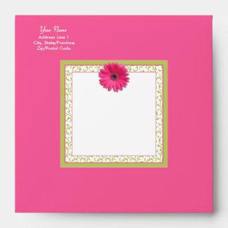 Pink Gerbera Daisy Green Floral Square Envelope