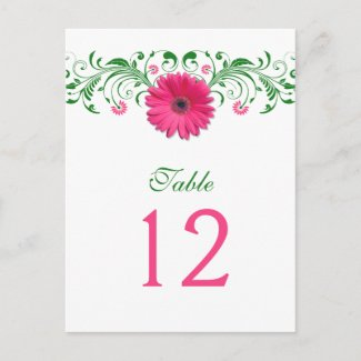 Pink Gerbera Daisy Emerald Green Floral Table Number Card