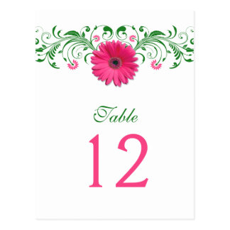 Pink Gerbera Daisy Green Floral Table Number Card Postcard