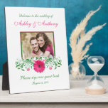 Pink Gerbera Daisy Green Floral Wedding Photo Display Plaque