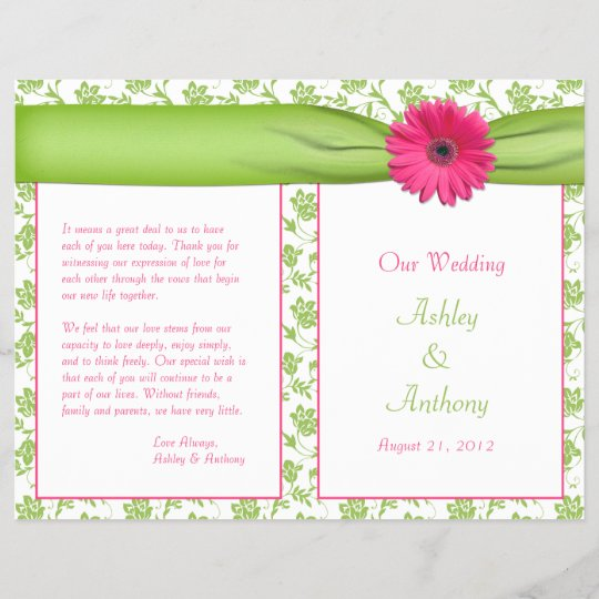 Hot Pink Gerbera Daisy White Wedding Invitation 5 X 7: Pink Gerbera Daisy Green Floral Wedding Program