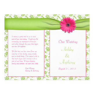 Pink Gerbera Daisy Green Floral Wedding Program