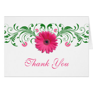 Pink Gerbera Daisy Green Floral Wedding Thank You Card