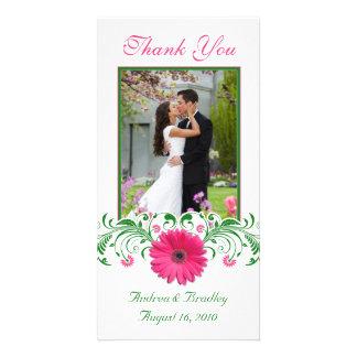 Pink Gerbera Daisy Green Floral Wedding Thank You Photo Card
