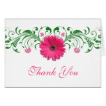 Pink Gerbera Daisy Green Floral Wedding Thank You Stationery Note Card