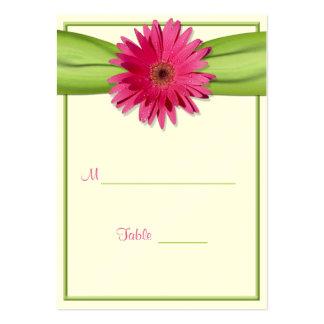 Pink Gerbera Daisy Green Ribbon Place Card
