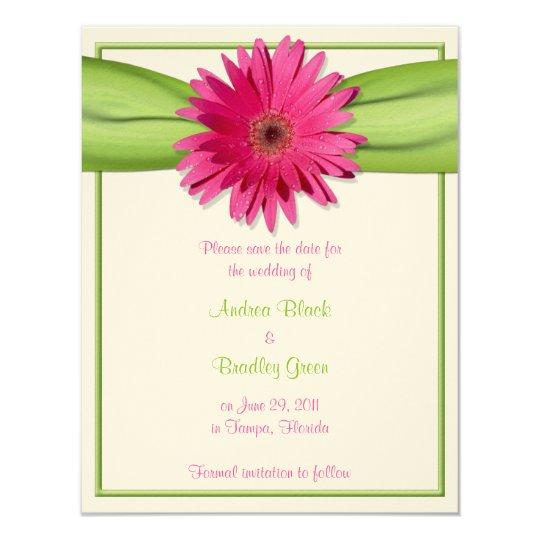Pink Gerbera Daisy Green Ribbon Save the Date Card