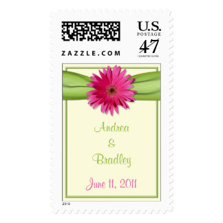 Pink Gerbera Daisy Green Ribbon Wedding Postage Stamp