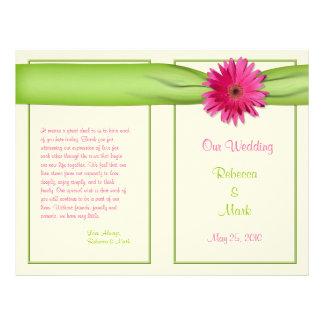Pink Gerbera Daisy Green Ribbon Wedding Program