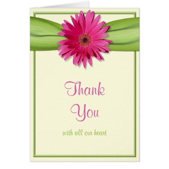 Pink Gerbera Daisy Green Ribbon Wedding Thank You Card