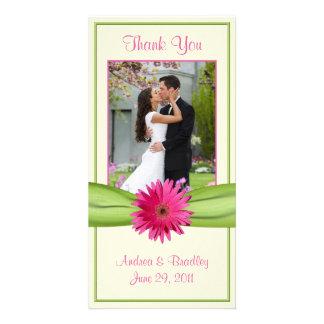 Pink Gerbera Daisy Green Ribbon Wedding Thank You Photo Card