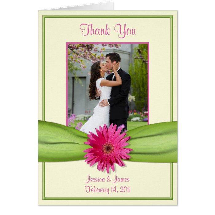 Pink Gerbera Daisy Green Wedding Photo Thank You Card