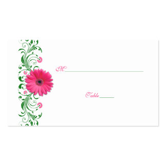 Pink Gerbera Daisy Green Wedding Place Card Double-Sided Standard Business Cards (Pack Of 100)
