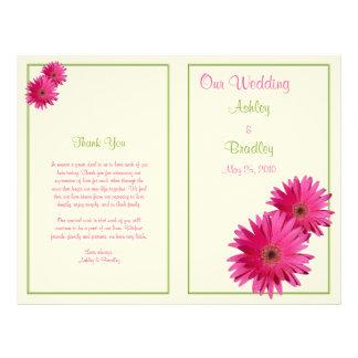 Pink Gerbera Daisy Green Wedding Program