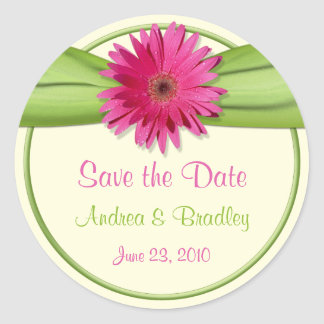 Pink Gerbera Daisy Green Wedding Save the Date Classic Round Sticker
