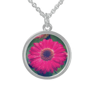 Pink Gerbera Daisy in Bloom Sterling Silver Necklace
