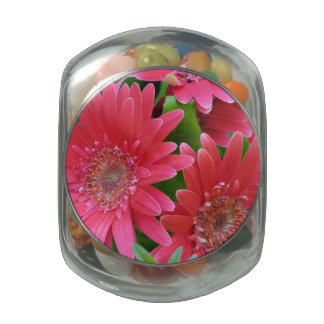 Pink Gerbera Daisy Jelly Belly Candy Jars