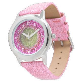 Pink Gerbera Daisy Kids Pink Glitter Watch