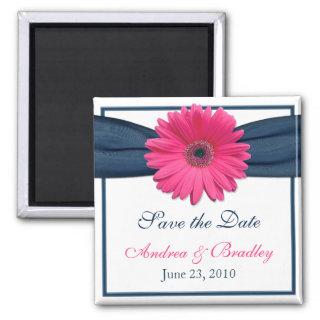 Pink Gerbera Daisy Monogram Wedding Magnet