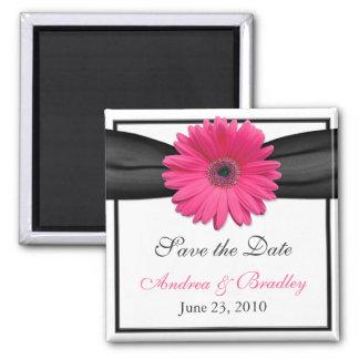 Pink Gerbera Daisy Monogram Wedding Magnet Magnet