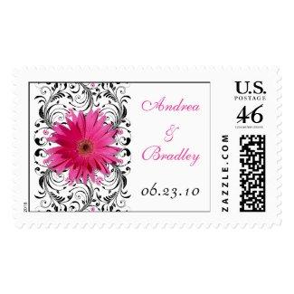 Pink Gerbera Daisy Monogram Wedding Postage stamp