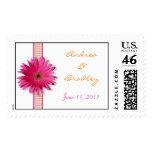Pink Gerbera Daisy Monogram Wedding Postage