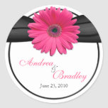 Pink Gerbera Daisy Monogram Wedding Sticker