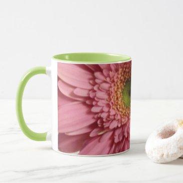 Coffee Themed Pink Gerbera Daisy Mug - color pop!