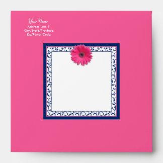 Pink Gerbera Daisy Navy Blue Floral Square Envelope