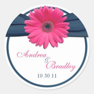 Pink Gerbera Daisy Navy Blue Wedding Classic Round Sticker