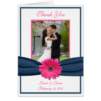 Pink Gerbera Daisy Navy Photo Wedding Thank You Card