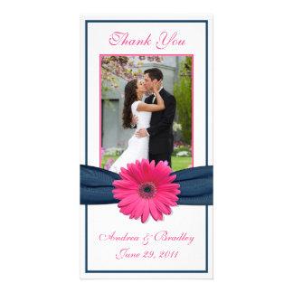 Pink Gerbera Daisy Navy Ribbon Wedding Thank You Photo Card