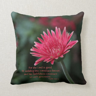 Pink Gerbera Daisy on Green w/ Scripture Verse Throw Pillow