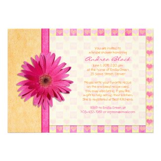 Pink Gerbera Daisy Orange Bridal Shower Invitation