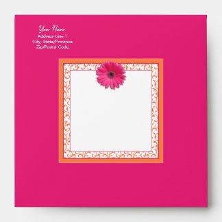 Pink Gerbera Daisy Orange Floral Square Envelope
