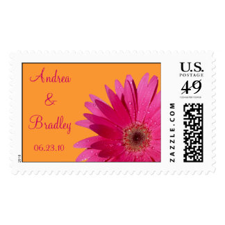 Pink Gerbera Daisy Orange Personalized Wedding Stamp