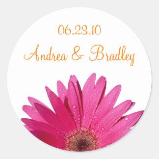 Pink Gerbera Daisy Orange Personalized Wedding Classic Round Sticker