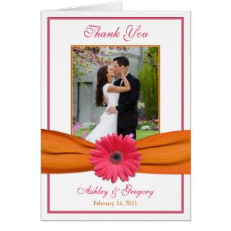 Pink Gerbera Daisy Orange Photo Wedding Thank You Greeting Card